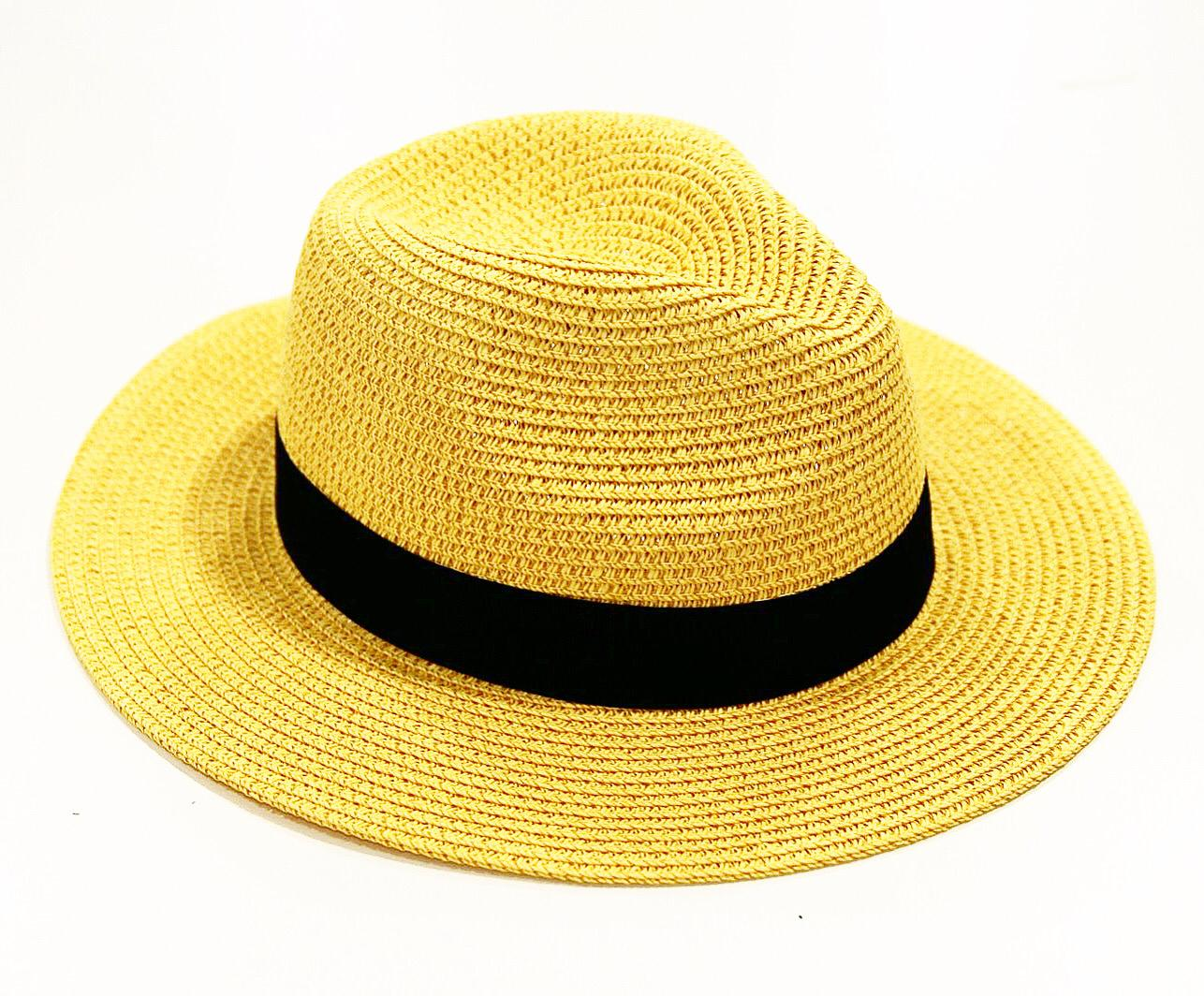 Yellow Straw Fedora with Poly Band