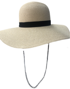 Cream Floppy Hat with Silver Diamante Chain