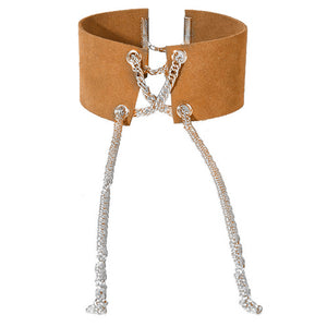 Tan Metal Lace Up Choker