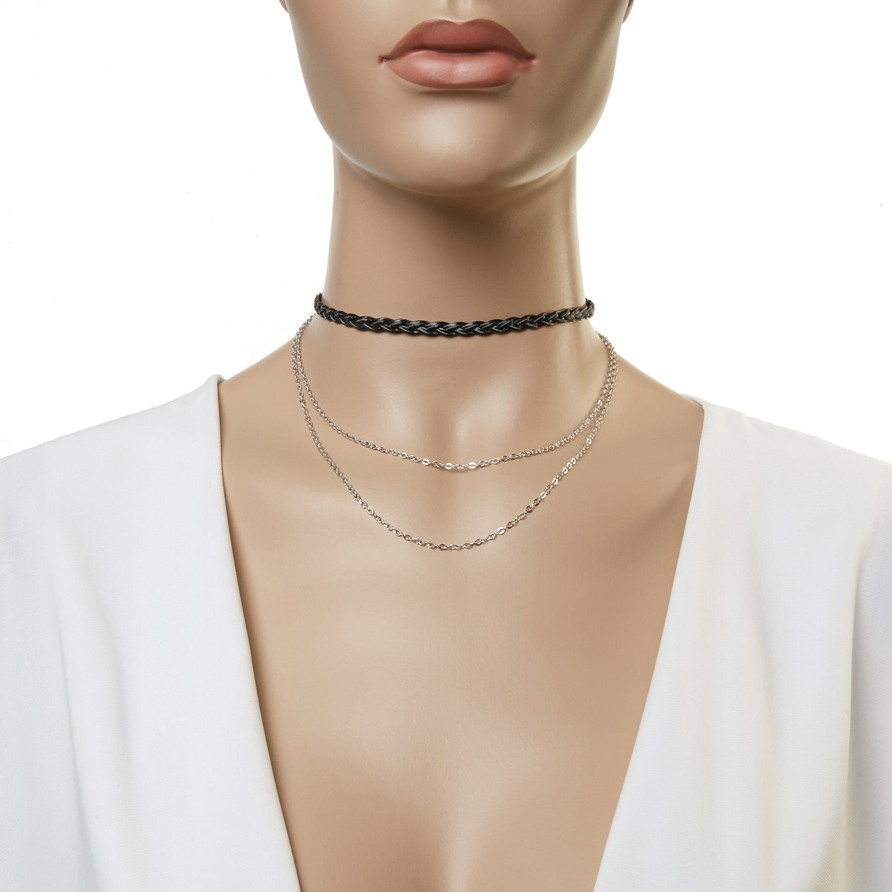 PU Plaited Choker with a Necklace Drop