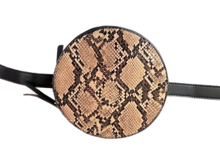 Brown Snake Faux Leather (PU) Circle Bag With Strap
