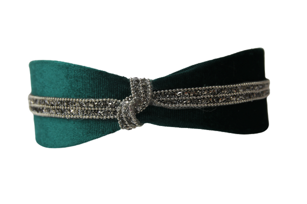 Green Embellished Knot Velvet Headband