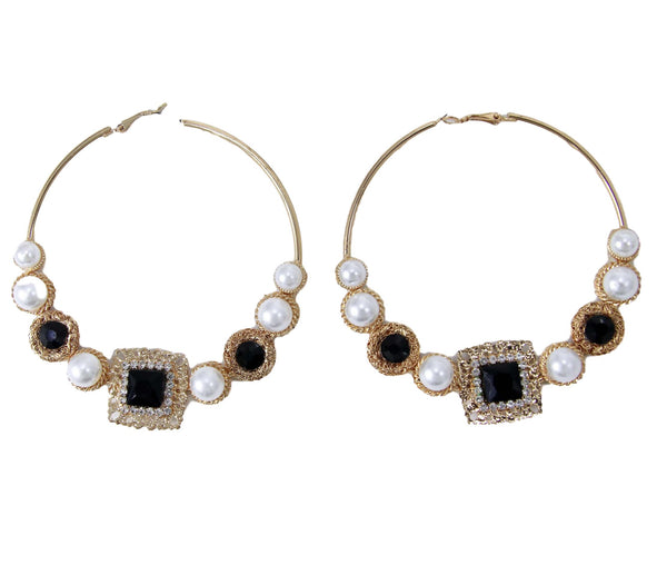 Gold and Black Circle Pearl Diamante Square Large Hoop Earrings