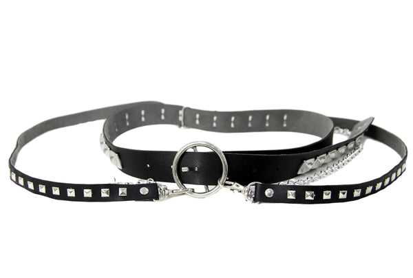 Square Stud PU Belt With PU And Chain Drops