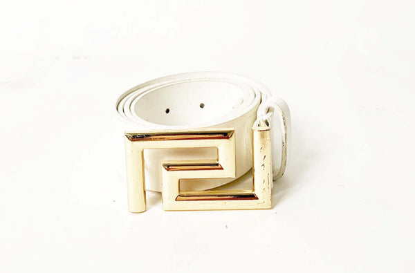 Gold Metal Buckle White PU Belt