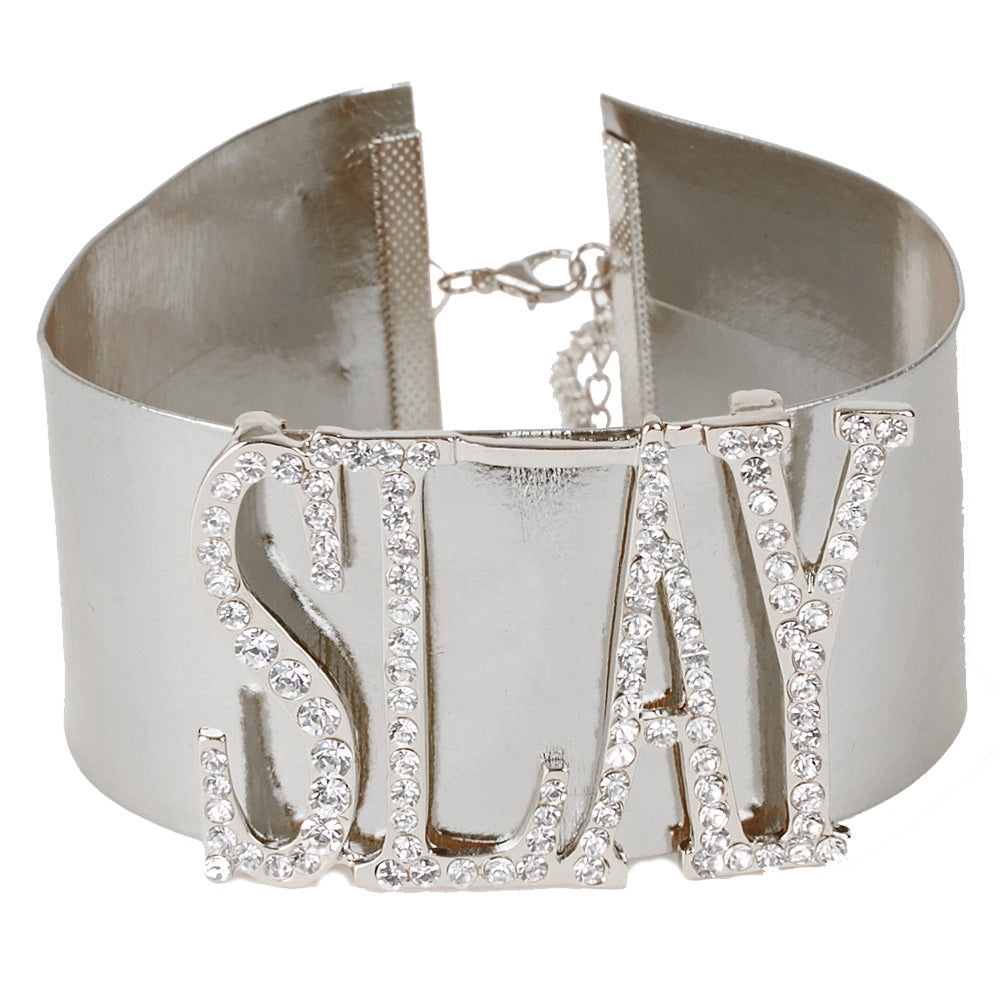 Silver 5cm PU Faux Leather Choker with Diamante Embellished SLAY Slogan