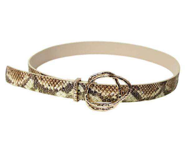 Brown Snake Print Belt With Double Gold Buckle