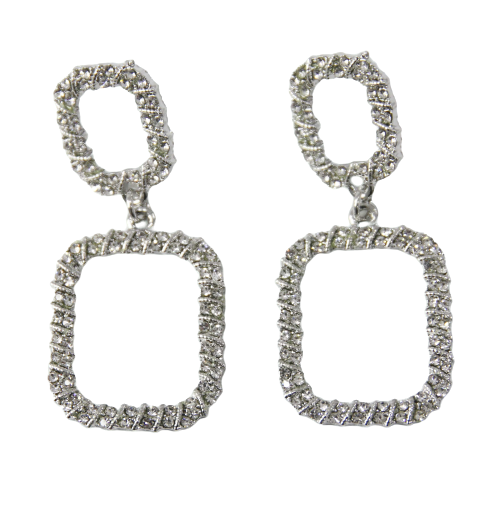 Silver Double Diamante Rectangle Hoop Diamante Earrings