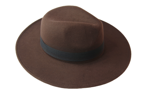 Dark Brown Fedora Felt Hat With Poly Band