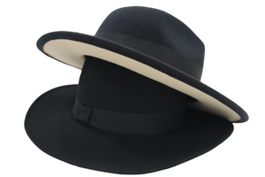 Black Fedora With Cream Bottom