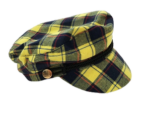 Yellow Tartan Baker With Rope Trim