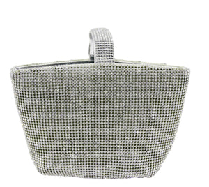 Silver Diamante Grab Handle Bag