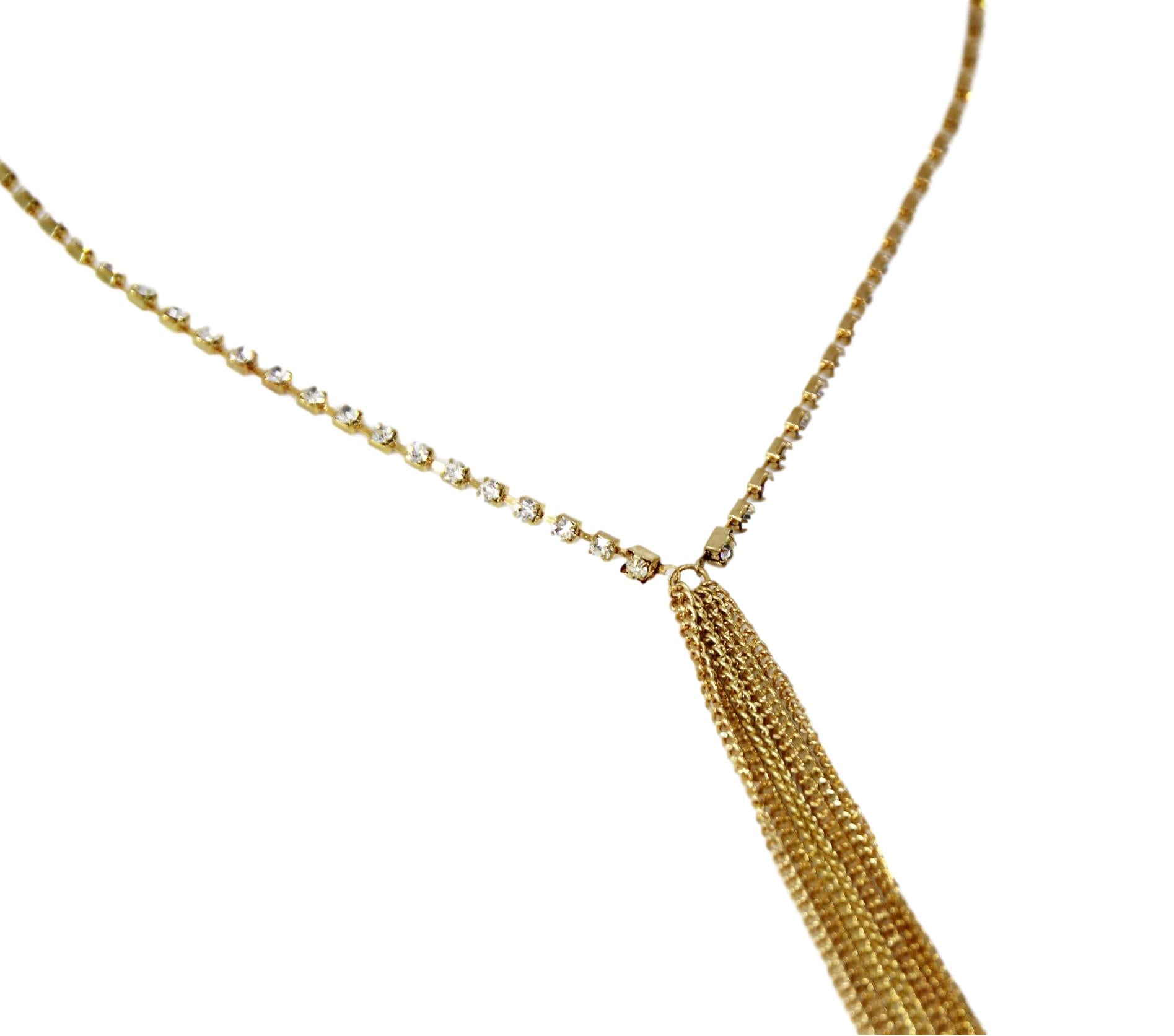 Diamante with Drop Multi Chains Necklace