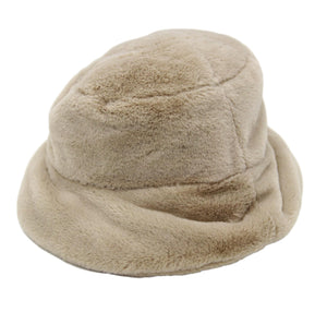 Beige Fur Bucket Hat