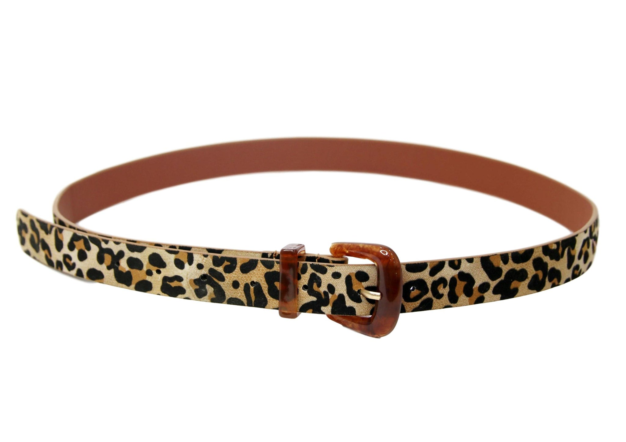 PU Resin Buckle belt Leopard