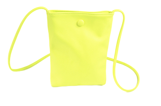 Neon Yellow Crossbody Bag With Button