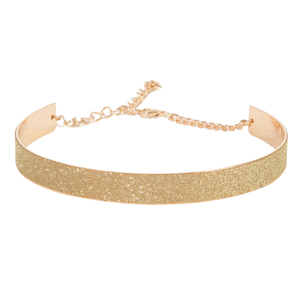 Gold 1.5cm Solid Glitter Metal Band Choker