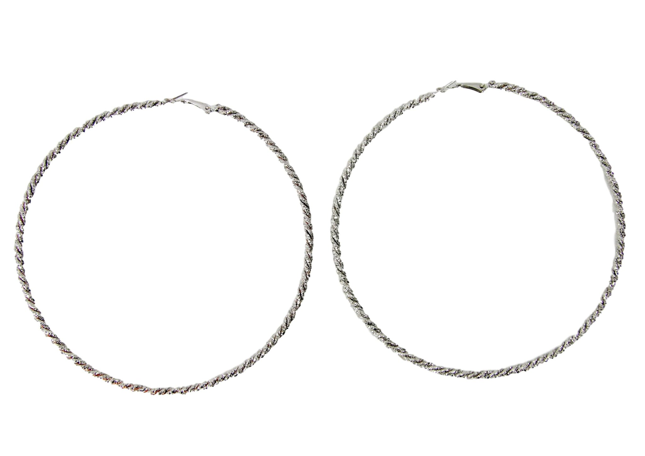 Silver Large Twisted Hoops