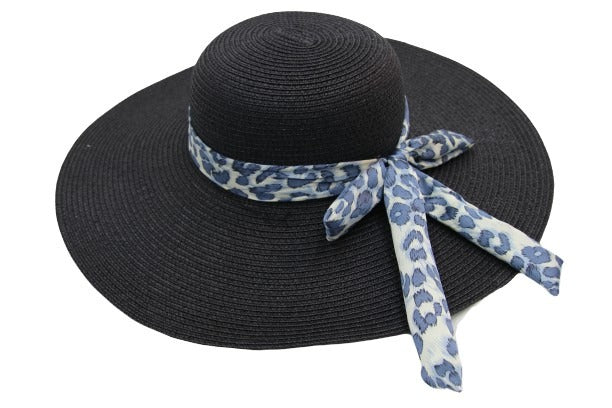 Straw Floppy Hat with Leopard Print Tie Bow Band