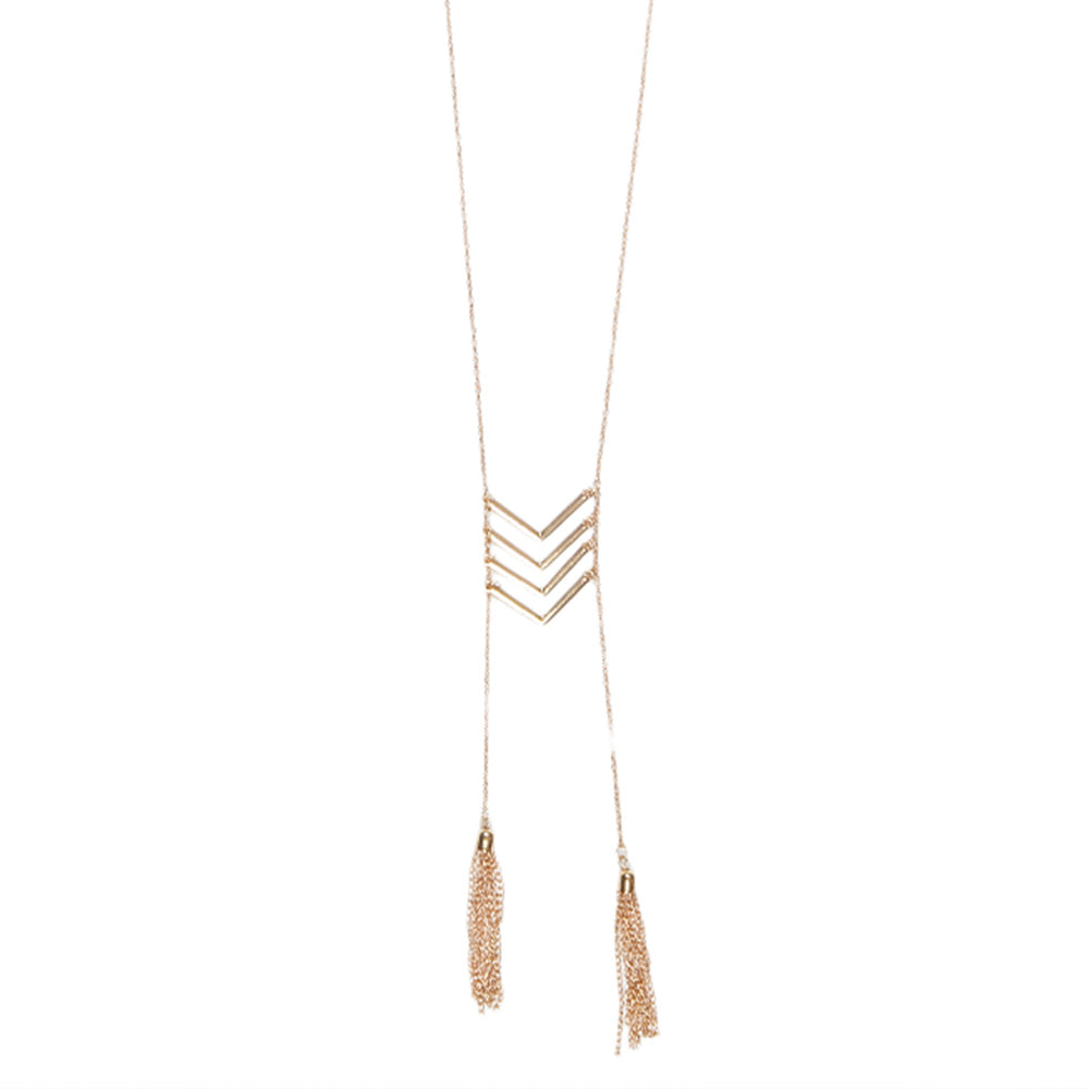 Long & Thin Chain Necklace  with Down Facing Arrows and Tassles