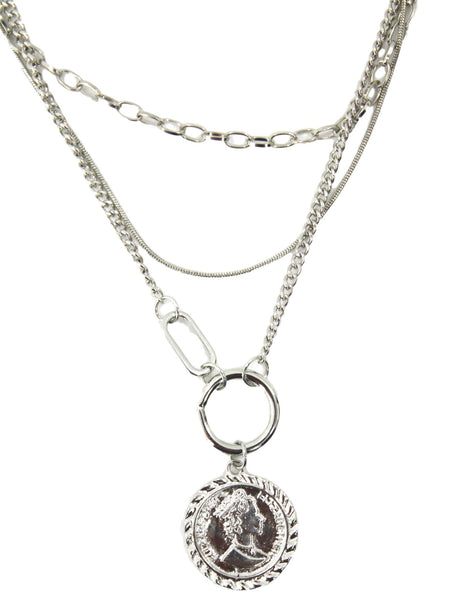Silver Coin Layered Necklace