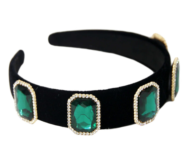 Emerald Velvet Octagon Big Stone Diamond Headband