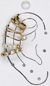 Gold Ear Cuff Multipack Diamante and Pearl