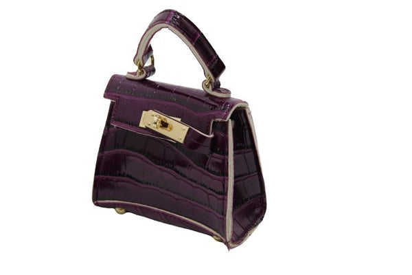 Purple Croc Mini Bag with Chain