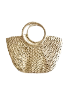 Cream Straw Bag With Circle Handle