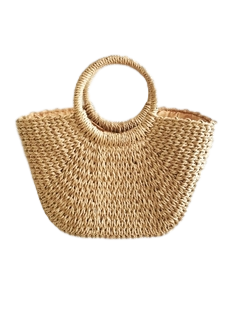Tan Straw Bag With Circle Handle