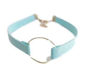 Light Blue Suedette choker with metal circle detail