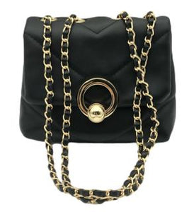 Black Soft Puffy Faux Leather Bag with Faux Leather Chain Link Strap and Gold Ring Detail