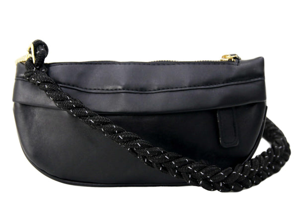 Black Faux Leather (PU) Bum Bag with Rope Strap