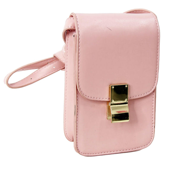 Pink Rectangle Cross Body Bag With Metal Clasp