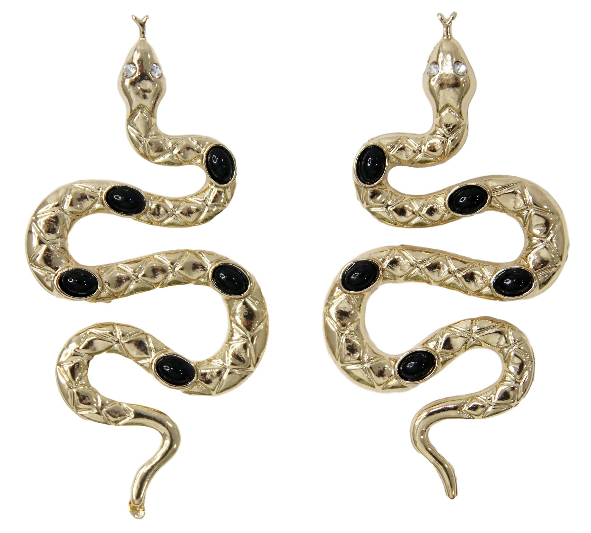 Gold Snake Earrings with Black Stone Embellishment