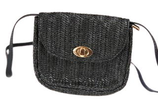Black Metal Clasp Straw Look Cross Body Bag