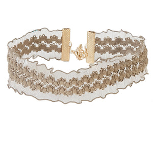 Beige 2.5cm  Elasticated Choker with Ruffle Detail