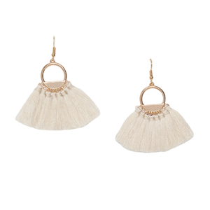 Cream Hoop fan tassel earring