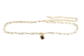 Gold Chain Belt With Padlock