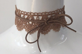 Tan Lace with Suedette with Wrap Choker