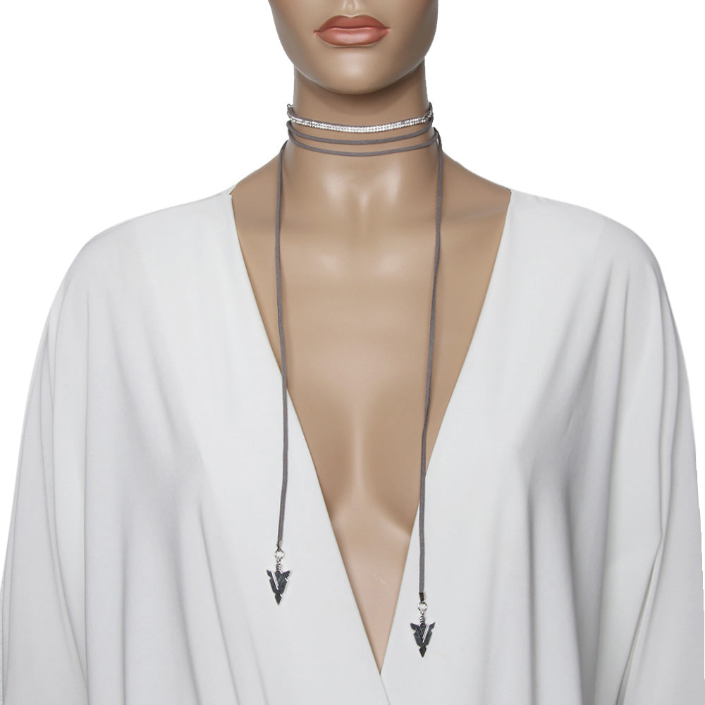 Suede Tie Up Diamante Embellished Choker with Arrows