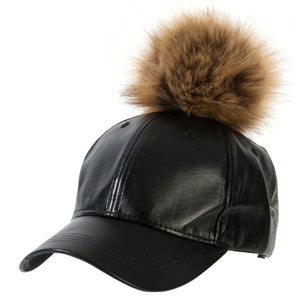 Brown Pom Black PU Cap