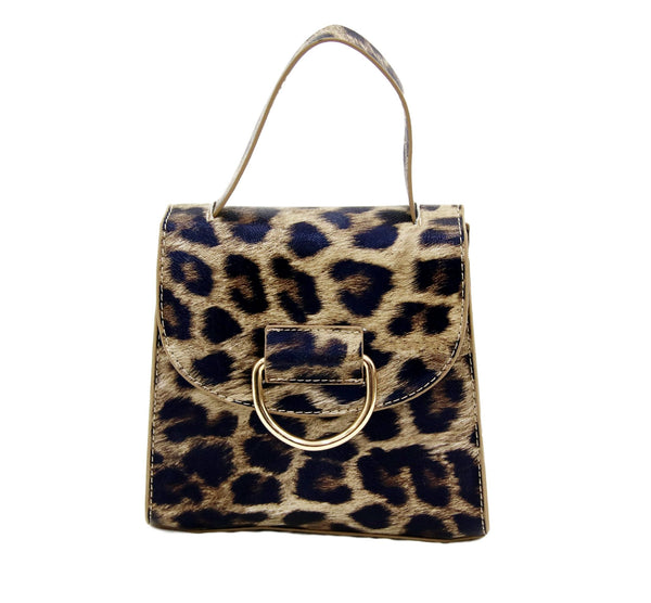 Leopard Croc PU Bag With Ring Detail