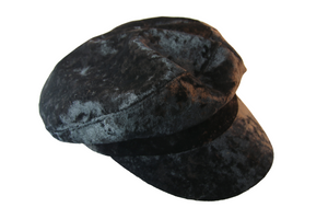 Black Crushed Velvet Bakerboy Cap