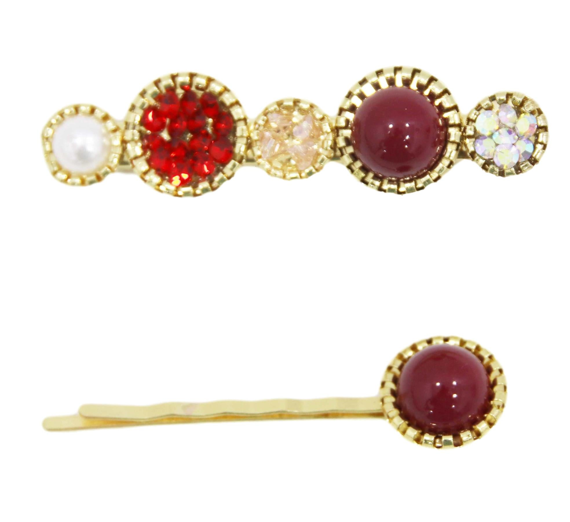 Red Diamond Pearl Hair Slide