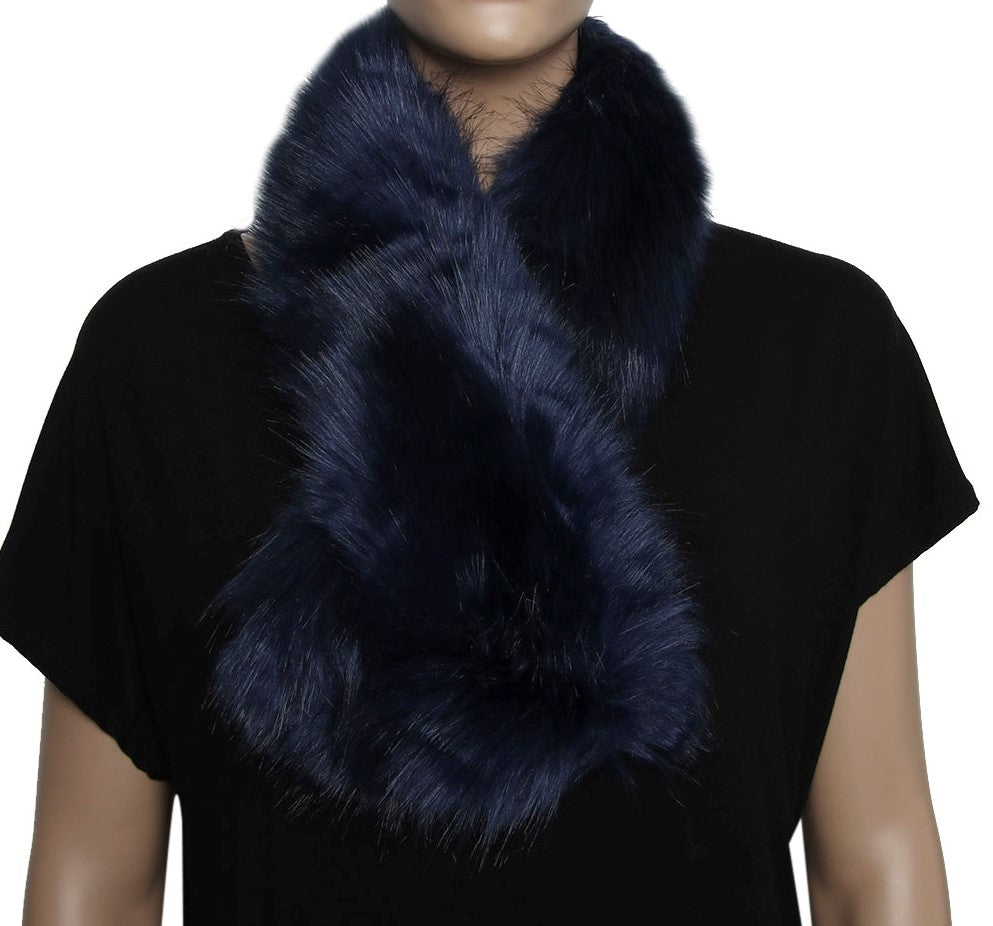 Navy Faux Fur Short Scarf