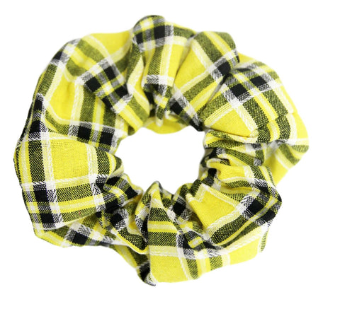 Yellow Check Scrunchie