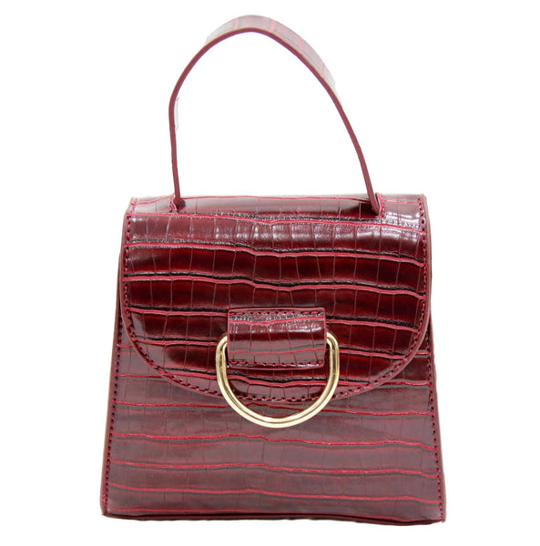 Burgundy Croc PU Bag With D Ring Detail