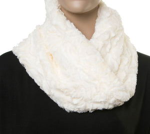 Cream Faux Fur Snood with Pattern