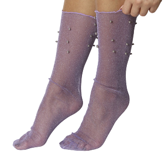 Purple Mesh Socks With Studs